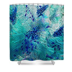 Rhododendron Turquoise Lace Shower Curtain