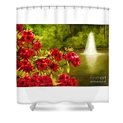 Painted Rhododendrons Fountain In Pond   Shower Curtain