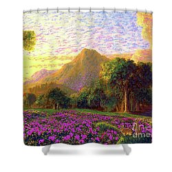 Rhododendrons, Rabbits And Radiant Memories Shower Curtain