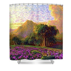 Shower Curtain featuring the painting Rhododendrons, Rabbits And Radiant Memories by Jane Small