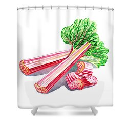 Shower Curtain featuring the painting Rhubarb Stalks by Irina Sztukowski