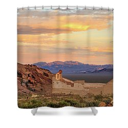 Shower Curtain featuring the photograph Rhyolite Bank At Sunset by James Eddy