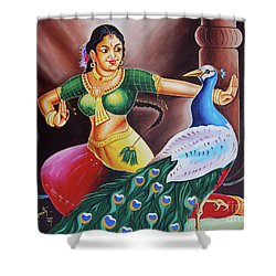 Shower Curtain featuring the painting Rhythms Of Tradition by Ragunath Venkatraman