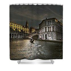 Rialto Bridge Venice Shower Curtain by John Hix
