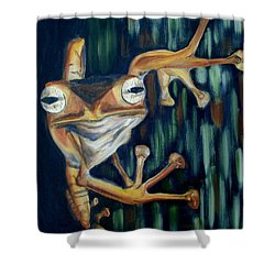 Shower Curtain featuring the painting Ribbit by Donna Tuten