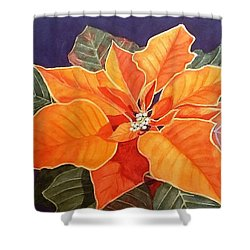Ribbon Candy Poinsettia Shower Curtain