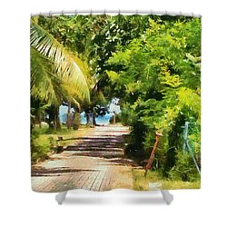 Rich Green Path Shower Curtain