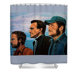 Jaws With Richard Dreyfuss, Roy Scheider And Robert Shaw Shower Curtain by Paul Meijering