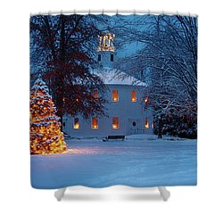 Richmond Vermont Round Church At Christmas Shower Curtain