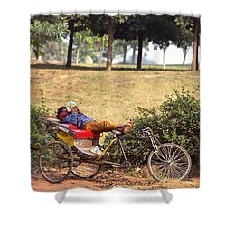 Rickshaw Rider Relaxing Shower Curtain