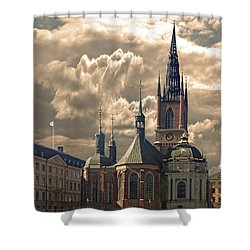 Shower Curtain featuring the photograph Riddarholm Church - Stockholm by Jeff Burgess