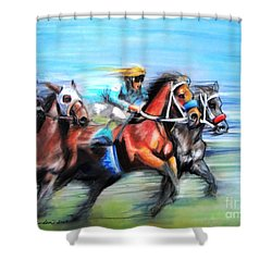 Shower Curtain featuring the painting Ride Like The Wind by Patricia L Davidson