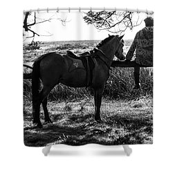 Rider And Horse Taking Break Shower Curtain