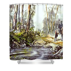 Rider By The Creek Shower Curtain