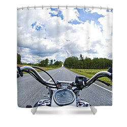 Riders Eye View Shower Curtain by Micah May