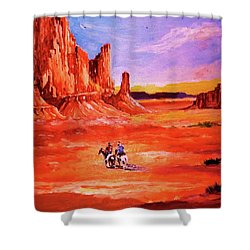 Riders In The Valley Of The Giants Shower Curtain