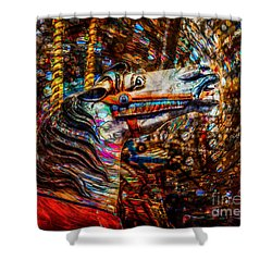 Shower Curtain featuring the photograph Riding A Carousel In My Colorful Dream by Michael Arend