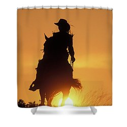 Riding Cowgirl Sunset Shower Curtain