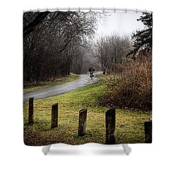 Riding Into The Fog Shower Curtain