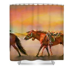 Riding The Surf Shower Curtain by Kari Nanstad
