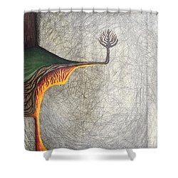 Shower Curtain featuring the mixed media Right Universe by Steve  Hester