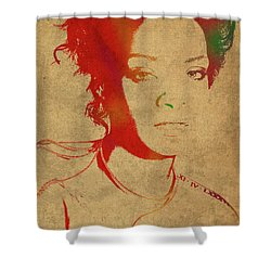Rihanna Watercolor Portrait Shower Curtain