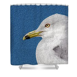 Shower Curtain featuring the mixed media Ring-billed Gull Oil Portrait by Onyonet  Photo Studios