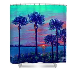 Ringling Bridge Sunset Shower Curtain by Lou Ann Bagnall