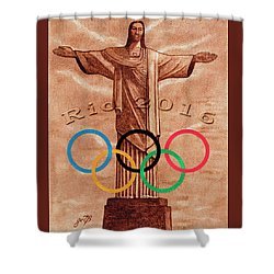 Shower Curtain featuring the painting Rio 2016 Christ The Redeemer Statue Artwork by Georgeta Blanaru