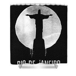 Rio De Janeiro Landmark Black Shower Curtain
