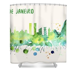 Rio De Janeiro Skyline Watercolor Poster - Cityscape Painting Artwork Shower Curtain
