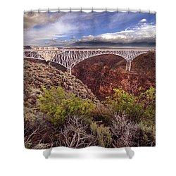 Rio Grande Gorge Bridge Shower Curtain by Jill Battaglia