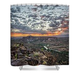 Rio Grande River Sunrise 2 - White Rock New Mexico Shower Curtain by Brian Harig