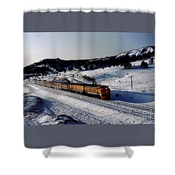 Rio Grande Zephyr Trainset In The Snow, Plainview Colorado, 1983 Shower Curtain