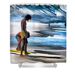 Rio Surfers Shower Curtain by Dennis Cox