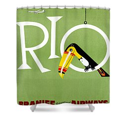 Rio Vintage Travel Poster Restored Shower Curtain