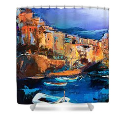 Shower Curtain featuring the painting Riomaggiore - Cinque Terre by Elise Palmigiani