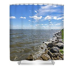 Shower Curtain featuring the photograph Rip-rap On The Chester River by Charles Kraus