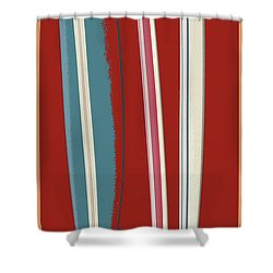 Shower Curtain featuring the digital art Rip Tide Surfboards Vintage by Edward Fielding