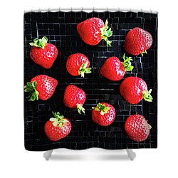 Ripe Strawberries On Back Plate Shower Curtain