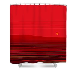 Ripple - Red Shower Curtain