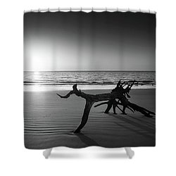 Ripples At Sunrise In Black And White Shower Curtain