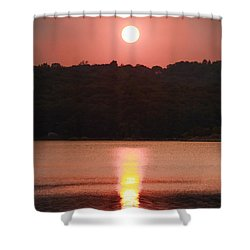 Ripples Of Sunset Shower Curtain by Daphne Sampson