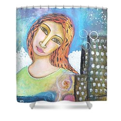 Shower Curtain featuring the painting Rise Above Because You Are An Angel by Prerna Poojara