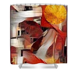 Shower Curtain featuring the mixed media Rise by Ray Tapajna