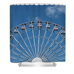 Rise Up Ferris Wheel In The Clouds Seaside Nj Shower Curtain by Terry DeLuco