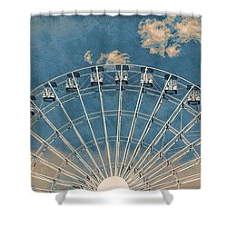 Rise Up Ferris Wheel In The Clouds Shower Curtain by Terry DeLuco