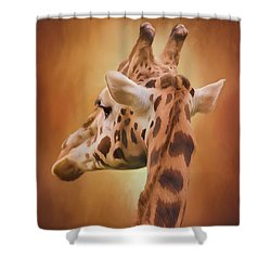 Rising Above - Giraffe Art Shower Curtain by Jordan Blackstone