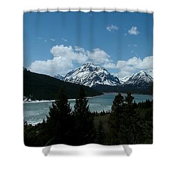 Rising Wolf And Two Medicine Lake Shower Curtain