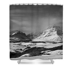 Rising Wolf Mountain- Winter - Black And White Shower Curtain